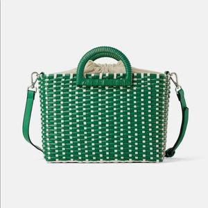 Zara woven two tone shopper bag. NWT